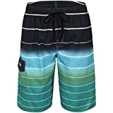 Nonwe Men's Beachwear Quick Dry Holiday Drawstring Striped Swim Trunks Green 38