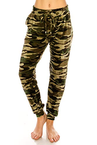 (ALWAYS Women Velvet Camo Joggers - Premium Soft Velour Stretch Warm Winter Camouflage Army Military Printed Patterned Sweatpants Pants SM Size)