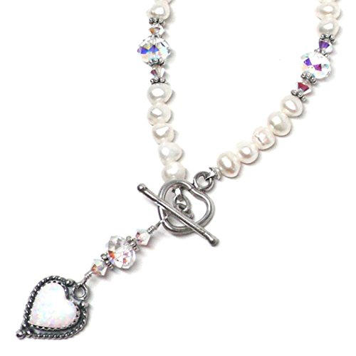 18x14mm Sterling Silver Heart White Created Opal Cultured Freshwater Pearl Necklace ()
