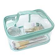 FIYUK Toiletry Bag Makeup Cosmetic Clear Bag Portable Waterproof Transparent Travel Large Storage Green