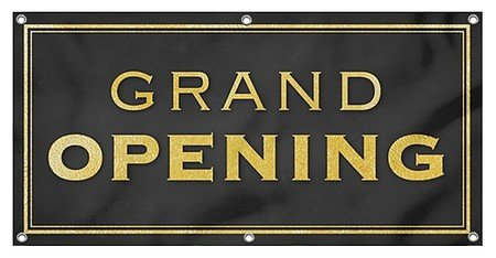 CGSignLab |Grand Opening -Classic Gold 9oz. Wind-Resistant Outdoor Mesh Vinyl Banner with Reinforced Hems & Metal Grommets | 4'x2' - Gold La Grande
