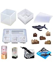 TEUN Square Resin Molds Mountain Peak Silicone Molds, Cube Silicone Resin Molds with 5PCS Wood Pieces for Making Necklaces Pendants/Micro Landscape Decoration