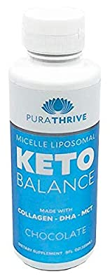 PuraTHRIVE Liposomal Keto Balance Ketosis Supplement - Grass Fed Beef Collagens, Cocunut MCTs, Algal DHA - 8oz Liquid Bottle - Increase Fat Loss, Improve Heart Health, Enhance Cognitive Function