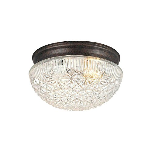 Hardware House 54-4734 Two Light Flush Mount, Classic Bronze Finish with Clear Cut ()