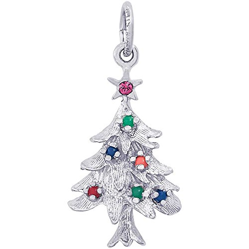 14k Gold Christmas Tree Charm - Rembrandt Charms Christmas Tree Charm, 14K White Gold