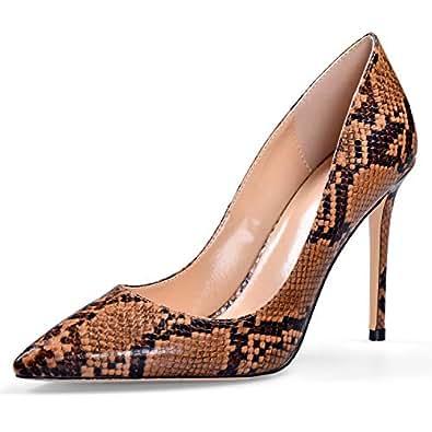 YODEKS Women's Pointy Toe Python Pumps Animal Print High Heel Shoes Brown US7