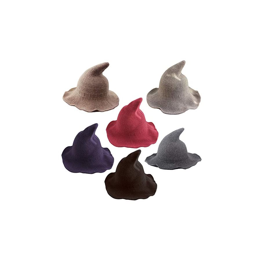 Jesse Womens Witch Pointed Woolen Thicken Knitted Hat,Bucket Wizard Chapeau Cap For Halloween Masquerade Cosplay Party