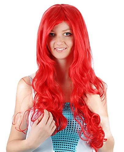 Princess Cosplay Wig Wavy Curly Women Wig Long Hair Heat Resistant Red Hair Wig -