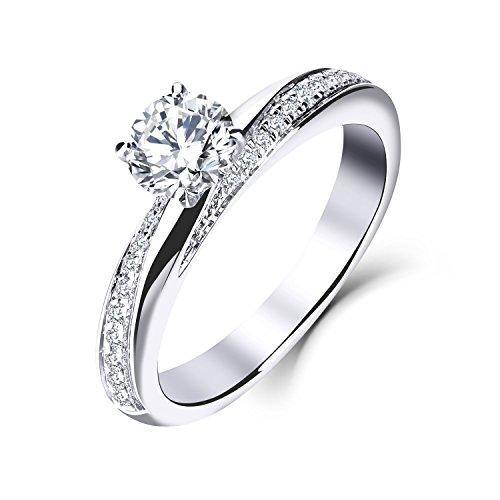 YL Diamond Wedding Ring 14ct White Gold 6.5MM 1Ct Moissanite Engagement...