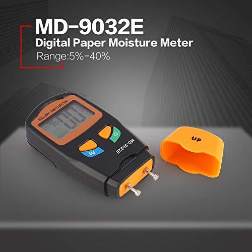 FairytaleMM MD-9032E Digital LCD Humedad Humectante de Papel Analizador Higrómetro Timbre Detector de Humedad Gama 5% - 40% (Color: Gris y Naranja): ...