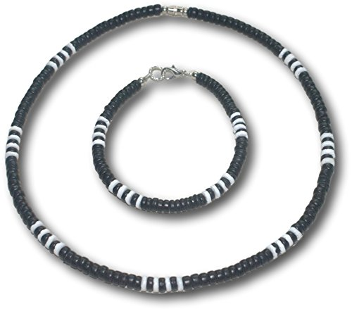 Native Treasure - 2pc Set 5mm Black Wood Coco Shell, 4 White Clam Heishe Shell Surfer Puka Shell Necklace and Bracelet (18.8)
