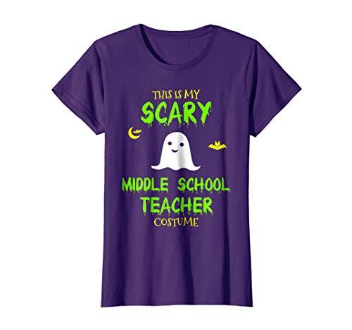 Womens Scary Middle School Teacher Costume Halloween T-Shirt XL Purple -