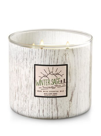 Bath and Body Works White Barn 3 Wick Candle Winter Sage 2017 Now Made With Essential Oils White Wood Grain Look Packaging