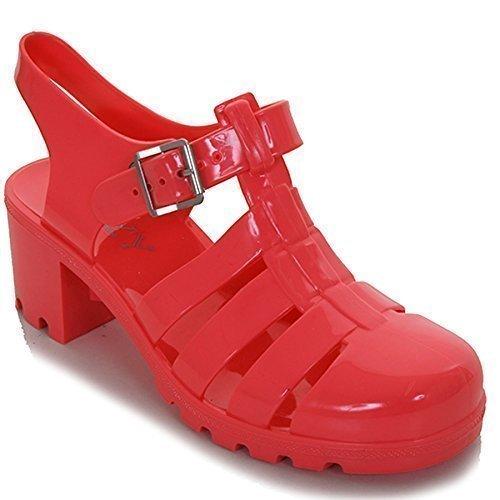 Sapphire Boutique - Damen Sommer Flacher Blockabsatz Einfarbige Glitter Flip Flop Sandalen Jelly Schuhe korallenrot (Blockabsatz)