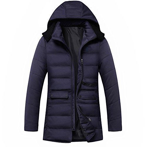 Con Zip Blu Tasca Ispessite Cappotto Fym Colore Giacche Solido Dimensioni Grandi Dyf Piumino Po Cappello qpP47w