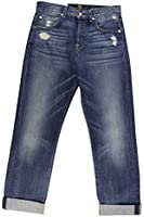 7 for all mankind Women's Blue Ripped The 1984 Vintage Boyfriend Jeans