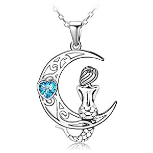 distance 925 sterling silver classic sea mermaid crescent moon necklace pendant valentines gifts jewelry for girls women daughter