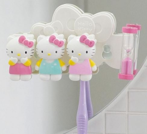 Hello Kitty Toothbrush Holder with 3 Minute Sand Time - Hello Accessories Home Kitty