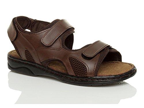 Ajvani Mens Sandales À Bande Velcro Plat Taille Marron