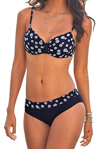 Bikini Dot Halter - ZAFUAZ Women Push Up Bikini Set Halter Padded Top Two Piece Swimsuit Bathing Suits Swimwear DOT BLACK M