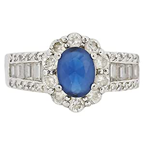 Giro Woman's Alloy Blue Stone Ring - G0077-18 mm