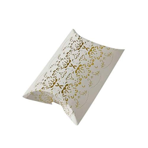 (liumiKK 25Pcs Gold Foil Creative Candy Box Set Hot Silver Gifts Case Decor Pillow-Shape Packing Carton European Style for Wedding Anniversary)