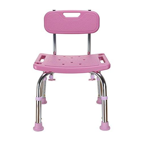 Shariv-シャワーチェア ピンクのバスチェア/古いシャワーチェア/妊婦のバススツール/ノンスリップバスルームスツール/5調節可能/背もたれのバスルームチェア43 *(60.5-70.5)cm B07DL51H7M