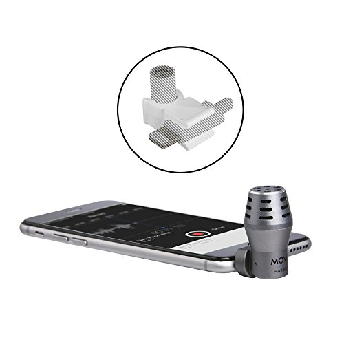 Movo MA200 Omni-Directional Calibrated TRRS Condenser Microphone with Lightning Dongle Clip for iPhone 7, iPhone 7 Plus, iPhone 8, iPhone X, iPhone Xs, XS Max, and Other iOS Devices (Grey)