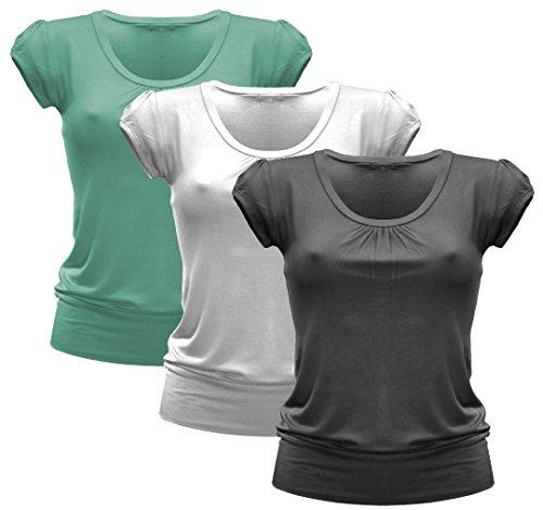 3x Damen Tshirt - T-Shirt - 3er Pack T Shirt - Runder Halsausschnitt - 3er Pack - 1092 - Schwarz + Weiß + Mint