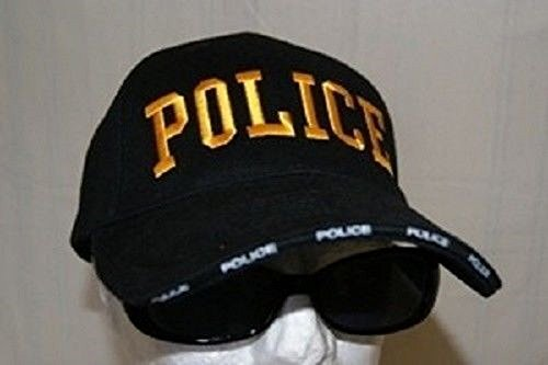 Black and Gold Police Law Enforcement 3D Letter Embroidered Baseball Hat Cap