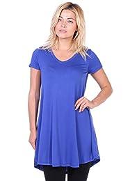 Popana Women's Tunic Tops for Leggings Short Sleeve Summer Shirt Made in USA 2X Royal
