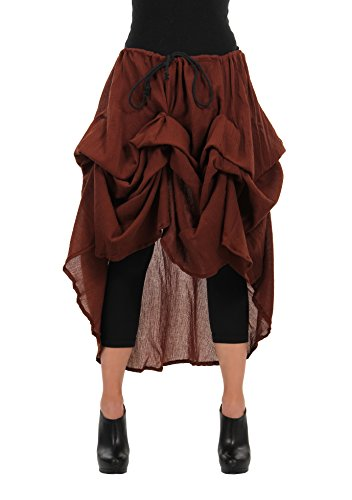 elope Hi Low Adjustable One Size Steampunk Costume Skirt for Women Brown -
