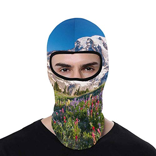 INTERESTPRINT Mt Rainier National Park Wildflowers Summer Time Cascade Mountain Wilderness Balaclava Face Mask Windproof Motorcycle Sun Protection