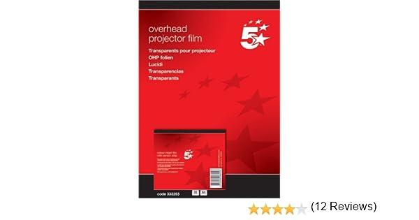 5 Star 333263 - Transparencias para impresoras inkjet con banda ...