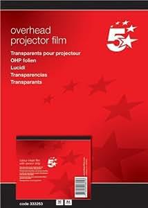 5 Star 333263 - Transparencias para impresoras inkjet con banda removible (A4, 50 hojas)