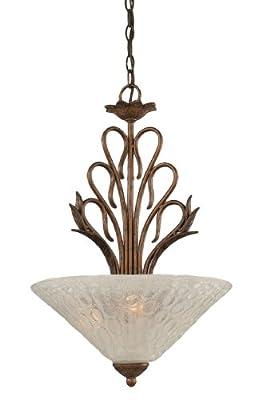 Toltec Lighting 204-BRZ-411 Swan Three-Light Uplight Pendant Bronze Finish with Italian Bubble Glass Shade, 16-Inch