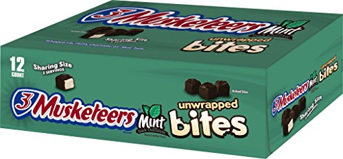 3 Musketeers Chocolate Candy (3 MUSKETEERS Mint and Dark Chocolate Bites Size Candy Bars 2.83-Ounce Bag 12-Count)