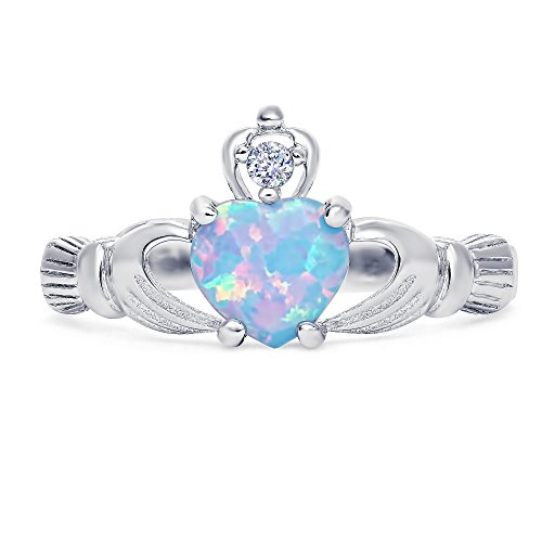 Sterling Silver lab-created Light Blue Opal Claddagh Promise Ring For Her, 8mm (6)