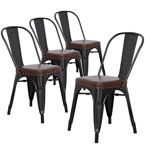 LCH Metal Bistro Cafe Chairs Industrial Stackable Dining Chairs, Set of 4 Vintage Indoor/Outdoor Chairs with Leather Seat (Sanded Black + PU) ()