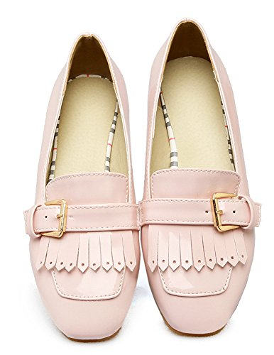 Aisun Women's Comfy Tassels Buckle Slip On Loafers Pink NAXlrN
