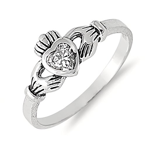 Traditional Irish Claddagh Ring Simulated Birthstone Sterling Silver Girls Womens Size 4 - Clear by Wedding Season Import