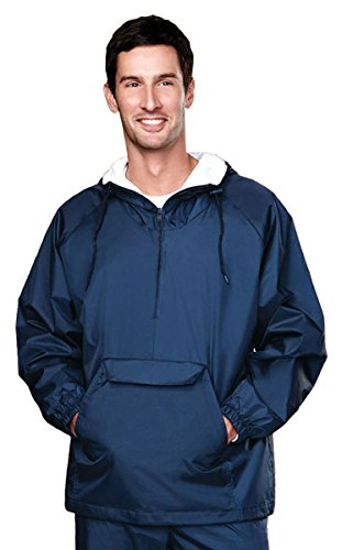 Zip Hooded Anorak - Tri-mountain Nylon 1/4 zip anorak hooded jacket with flannel lining. 3000TM - NAVY_2XL