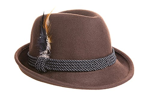 Holiday Oktoberfest Wool Bavarian Alpine Hat - Brown Color - Size Extra Extra Large (XXL) -
