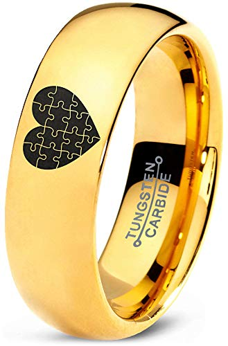 Zealot Jewelry Tungsten Puzzle Heart Band Ring 7mm Men Women Comfort Fit 18k Yellow Gold Dome Polished Size 10.5