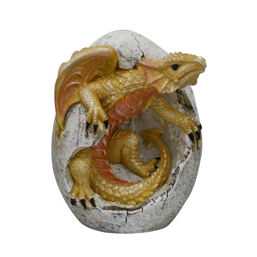 PTC 4.75 Inch Yellow Dragon Hatchling in Egg Casing Statue Figurine