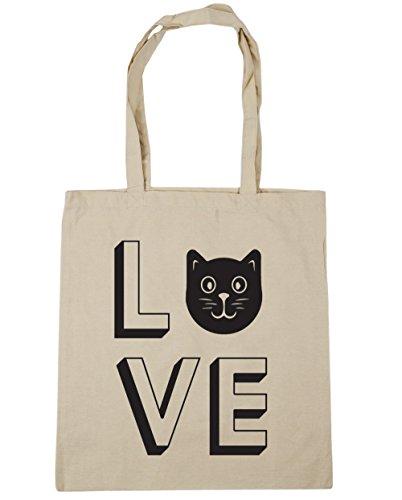 10 Shopping litres Bag Natural Tote Beach HippoWarehouse Love x38cm 42cm Cats Gym wqSawBUx