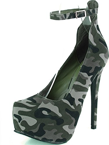 Womens Almond Toe Ankle Strap Vegan Platform Pump Mary Jane Green Camouflage, 7.5