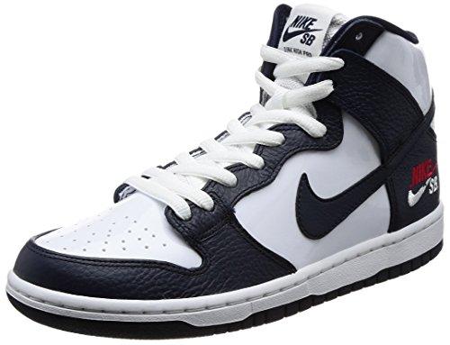 Nike 854851-441: Mens Sb Zoom Dunk Hoge Pro Obsidiaan / Witte Skateschoen (14 D (m) Us)
