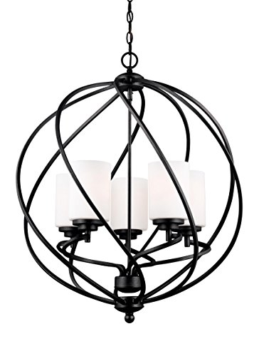 Sea Gull Lighting 5125205EN3-839 Goliad Five-Light Hall or Foyer Light Fixture with Glass Shades, Blacksmith Finish