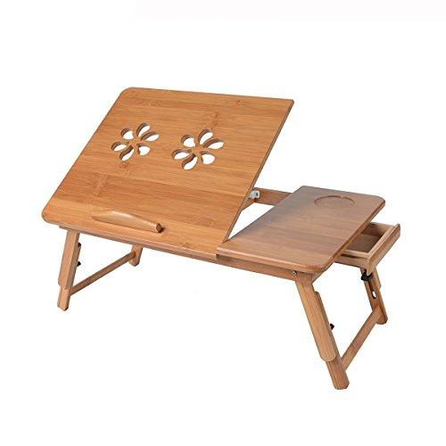 Saim Bamboo Laptop Desk Adjustable Foldable Breakfast Serving Bed Tray with Tilting Top Storage Drawer